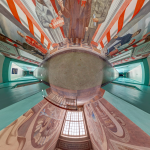 Distorted 360 Image of University Hallway